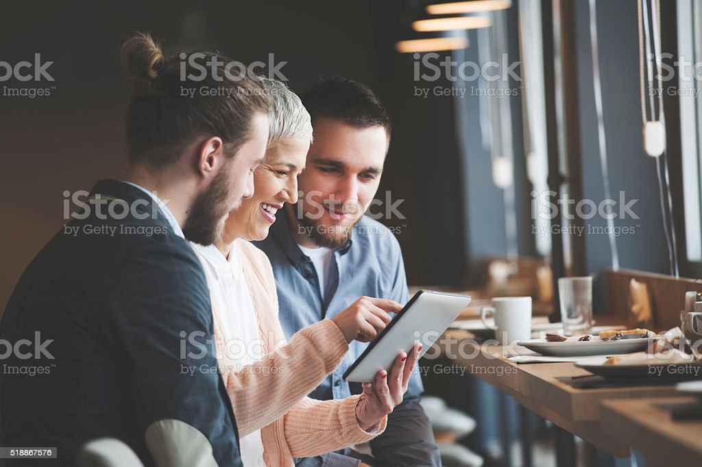 Business people at cafe stock photo