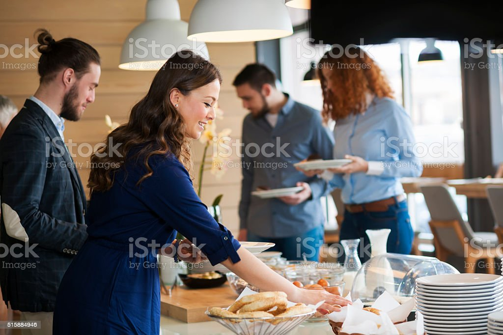 Business people at lunch stock photo