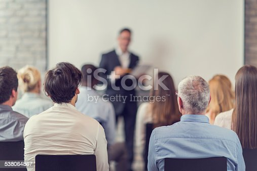 istock Business people attending a seminar. 538064867