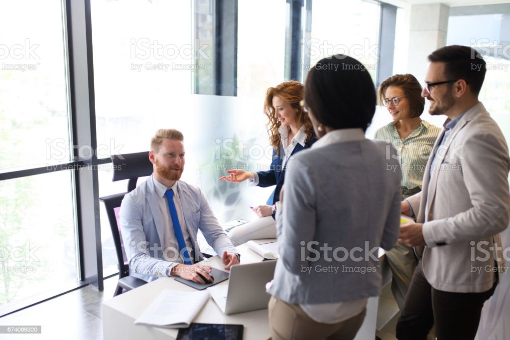 Business people brainstorming and planning new business strategy royalty-free stock photo