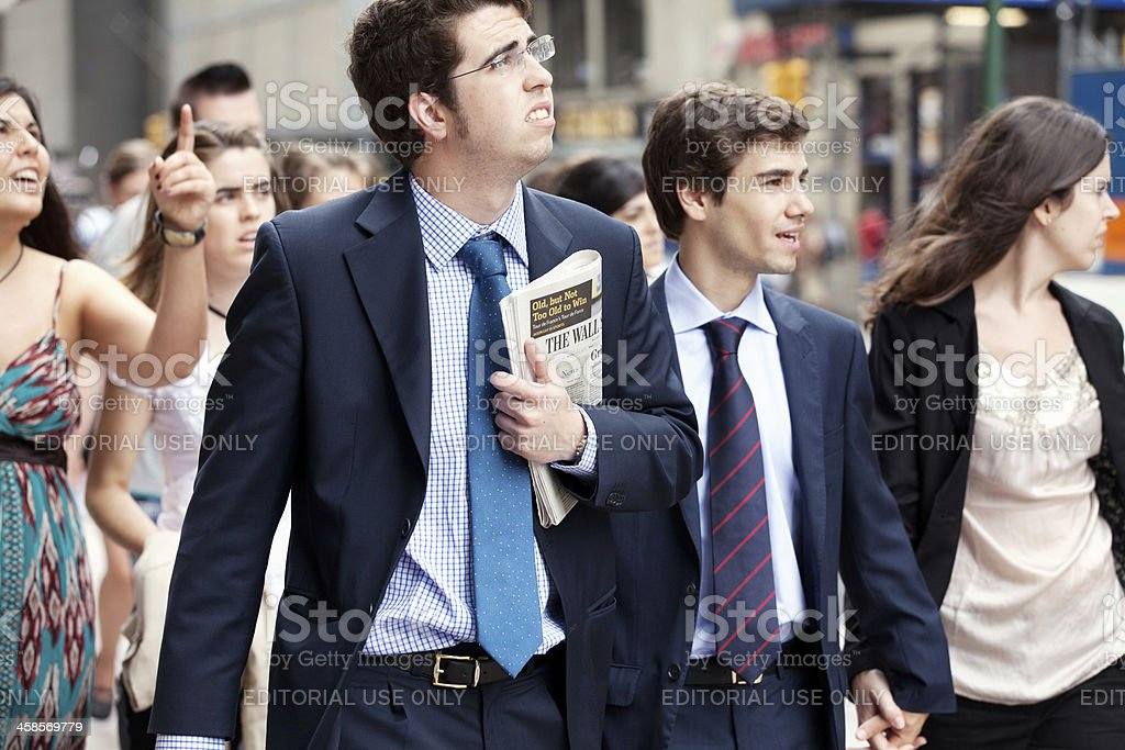 Business people by Wall Street royalty-free stock photo