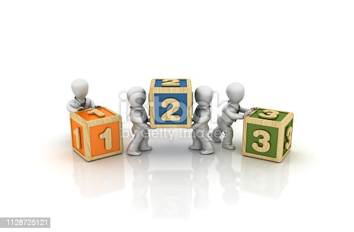 istock Business People Carrying 123 Cubes - 3D Rendering 1128725121
