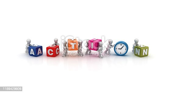 istock Business People Carrying ACTION Buzzword Cubes with Clock - 3D Rendering 1159429926