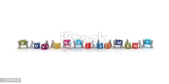 1124249479 istock photo Business People Carrying ADVERTISEMENT Buzzword Cubes - 3D Rendering 1124253142