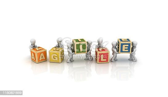 Business People Carrying AGILE Buzzword Cubes - White Background - 3D Rendering