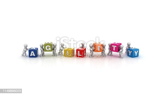 istock Business People Carrying AGILITY Buzzword Cubes - 3D Rendering 1149895023