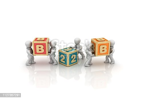 Business People Carrying B2B Buzzword Cubes - White Background - 3D Rendering