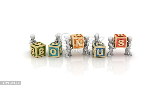 1124249479istockphoto Business People Carrying BONUS Buzzword Cubes Blocks - 3D Rendering 1124259906