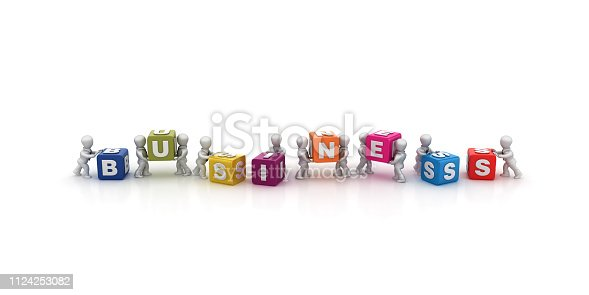 1124249479 istock photo Business People Carrying BUSINESS Buzzword Cubes - 3D Rendering 1124253082