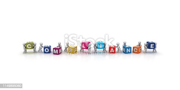 531925785 istock photo Business People Carrying COMPLIANCE Buzzword Cubes - 3D Rendering 1149895060