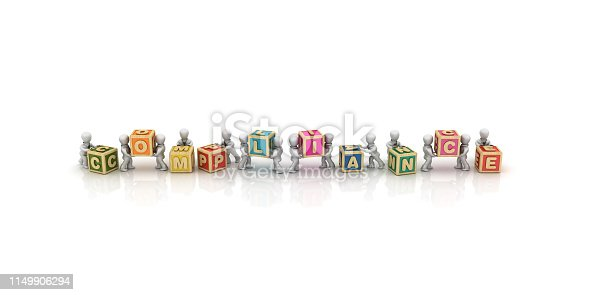 istock Business People Carrying COMPLIANCE Buzzword Cubes - 3D Rendering 1149906294
