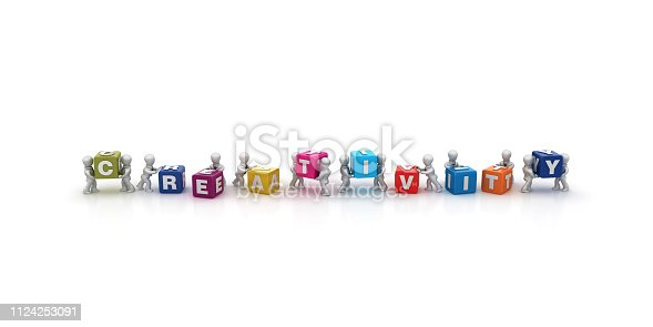1124249479 istock photo Business People Carrying CREATIVITY Buzzword Cubes - 3D Rendering 1124253091