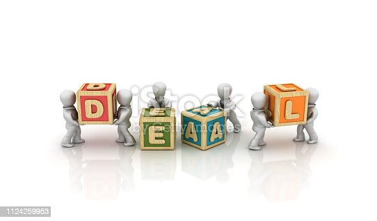 Business People Carrying DEAL Buzzword Cubes - White Background - 3D Rendering