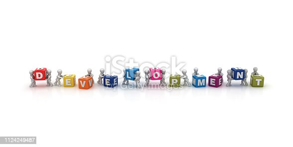 1124249479 istock photo Business People Carrying DEVELOPMENT Buzzword Cubes - 3D Rendering 1124249487
