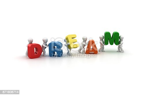 istock Business People Carrying Dream Word- 3D Rendering 871608714