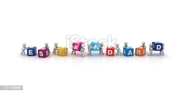 Business People Carrying ESTANDARD Buzzword Cubes - Spanish Word - 3D Rendering