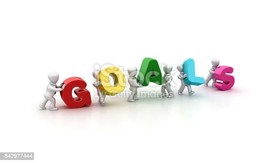 istock Business People Carrying Goals Word- 3D Rendering 842977444