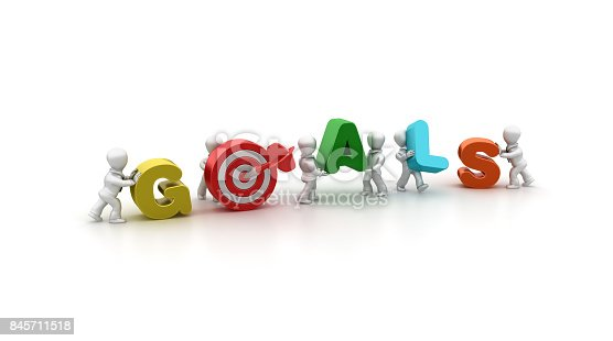 istock Business People Carrying Goals Word- 3D Rendering 845711518