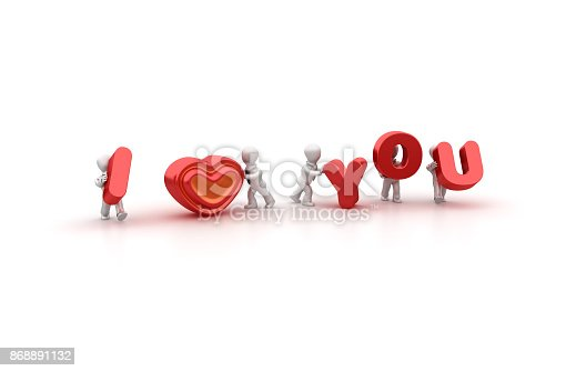 istock Business People Carrying I Love you Word- 3D Rendering 868891132
