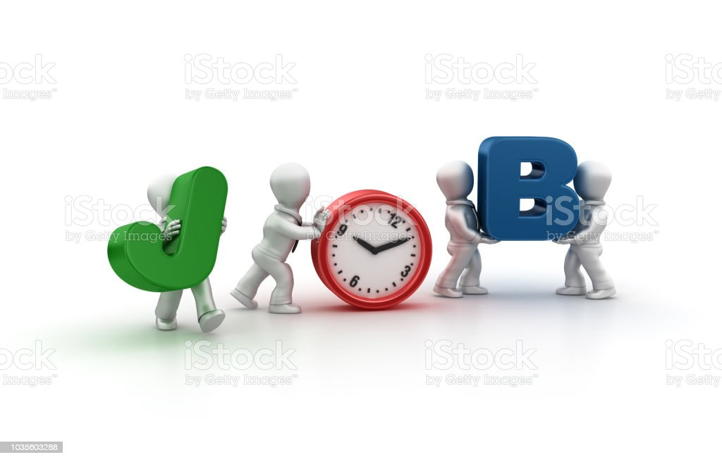 Business People Carrying Job Word with Clock - 3D Rendering stock photo
