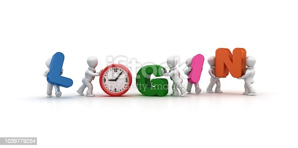 istock Business People Carrying LOGIN Word with Clock - 3D Rendering 1039779254
