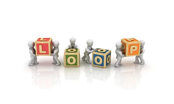 gente de negocios con loop buzzword cubos-renderizado en 3d - sequence animation fotografías e imágenes de stock