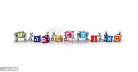 istock Business People Carrying MARKETING Buzzword Cubes - 3D Rendering 1089710936