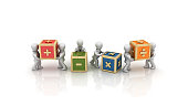 Business People Carrying Math Symbols Cubes - 3D Rendering