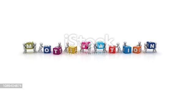 istock Business People Carrying MOTIVATION Buzzword Cubes - 3D Rendering 1089404874