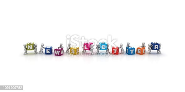 1124249479 istock photo Business People Carrying NEWSLETTER Buzzword Cubes - 3D Rendering 1091905782
