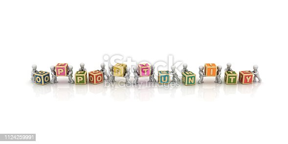 1124249479 istock photo Business People Carrying OPPORTUNITY Buzzword Cubes - 3D Rendering 1124259991