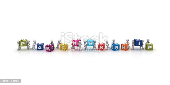 1124249479 istock photo Business People Carrying PARTNERSHIP Buzzword Cubes - 3D Rendering 1091905816