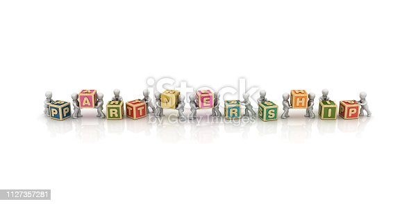 1124249479 istock photo Business People Carrying PARTNERSHIP Buzzword Cubes - 3D Rendering 1127357281
