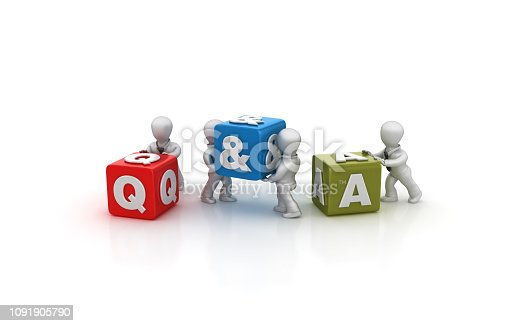 1124249479 istock photo Business People Carrying Q&A Buzzword Cubes - 3D Rendering 1091905790