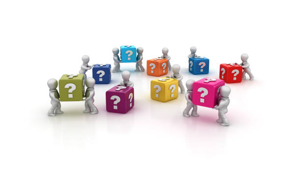 Business People Carrying QUESTION MARK Buzzword Cubes - 3D Rendering stock photo
