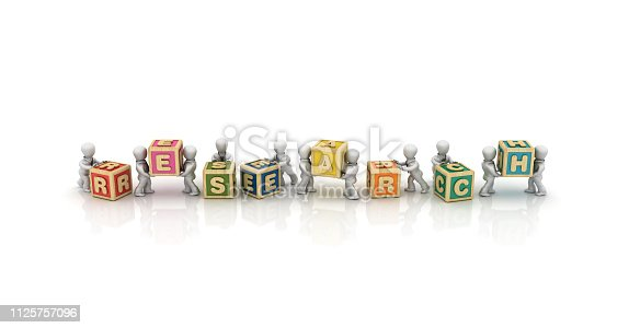 Business People Carrying RESEARCH Buzzword Cubes - White Background - 3D Rendering