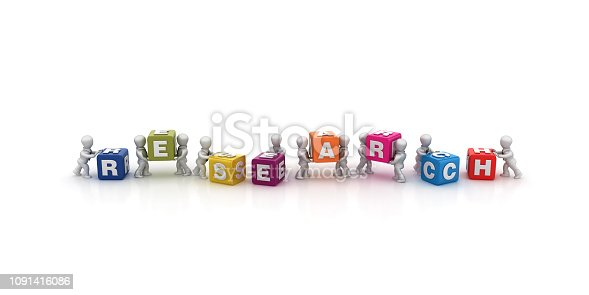 Business People Carrying RESEARCH Buzzword Cubes Blocks - White Background - 3D Rendering