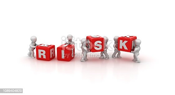 Business People Carrying RISK Buzzword Cubes - White Background - 3D Rendering
