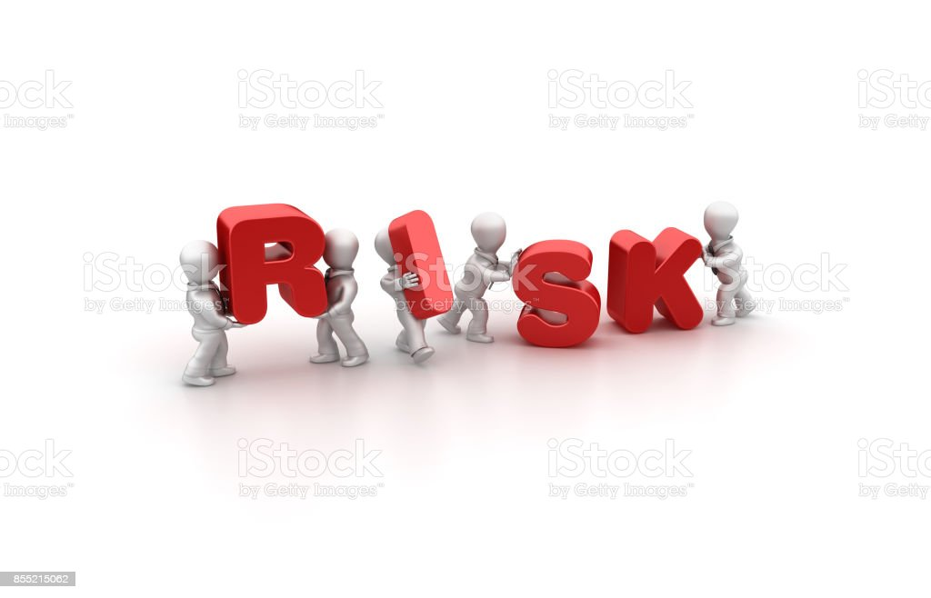 Business People Carrying Risk Word- 3D Rendering stock photo