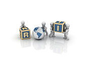 Business People Carrying ROI Buzzword Cubes - 3D Rendering