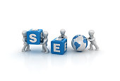 Business People Carrying SEO Buzzword Cubes - 3D Rendering