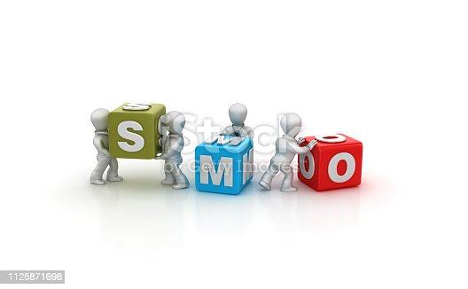 1124249479 istock photo Business People Carrying SMO Buzzword Cubes - 3D Rendering 1125871698