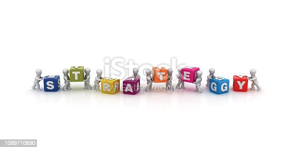 1124249479 istock photo Business People Carrying STRATEGY Buzzword Cubes - 3D Rendering 1089710890