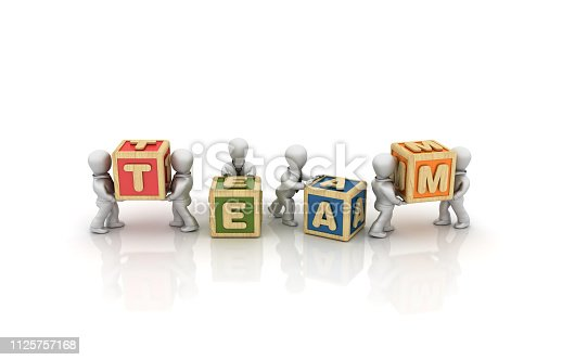 1124249479 istock photo Business People Carrying TEAM Buzzword Cubes - 3D Rendering 1125757168