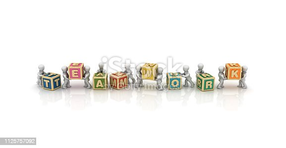 1124249479 istock photo Business People Carrying TEAMWORK Buzzword Cubes - 3D Rendering 1125757092