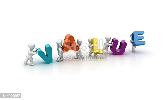 istock Business People Carrying Value Word- 3D Rendering 844209562