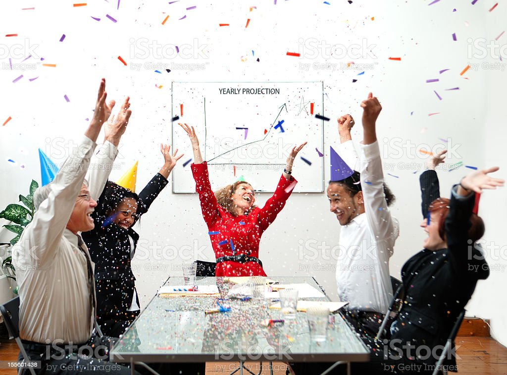 Business people celebrating royalty-free stock photo