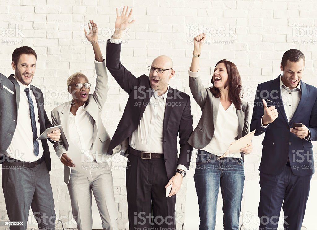 Business People Celebration Arms Raised Ecstatic Concept stock photo