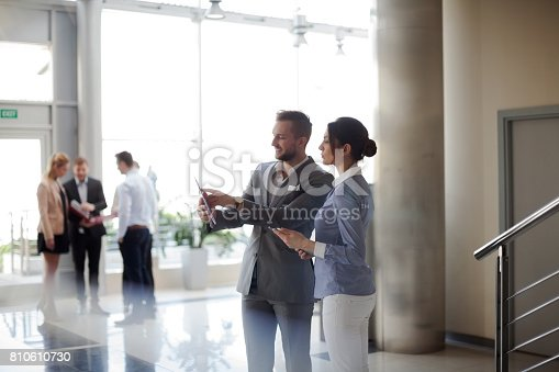istock Business people checking datas 810610730