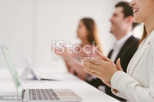 112156285 istock photo Business people clapping congratulation 1010618010